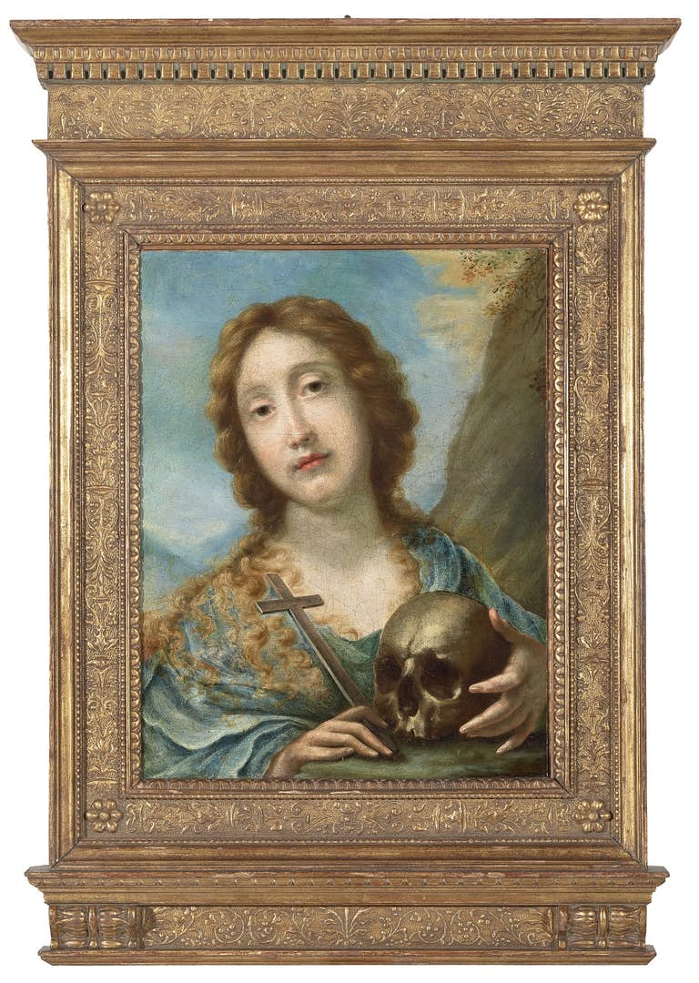 JACOPO GIORGI (1623–1665) Penitent Magdalene, oil on paper, layed down on canvas, The Haukohl Family Collection