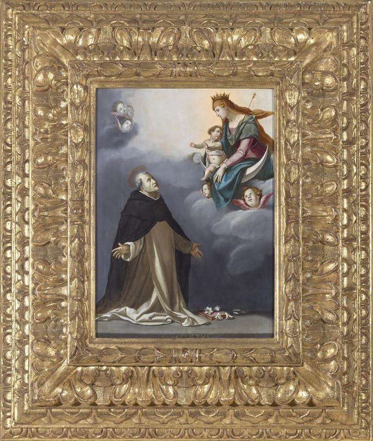 JACOPO DA EMPOLI (1551-1640) The Immaculate Virgin appearing to Saint Hyacinth, oil on copper, The Haukohl Family Collection
