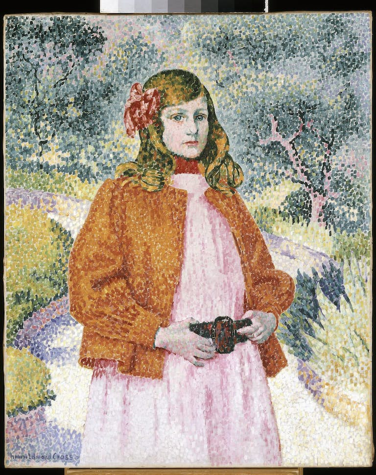 Henri-Edmond CROSS (1856 - 1910), Fillette à la veste rouge.